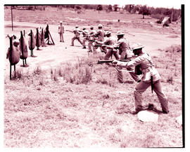 Army recruits in training, bayonet training.