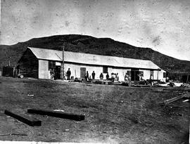 De Doorns, circa 1880. Workshop used during construction of the Hex River railway pass.