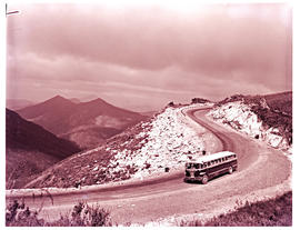 """Oudtshoorn district, 1961. SAR Canadian Brill MT6007 motor coach in Robinson pass."""