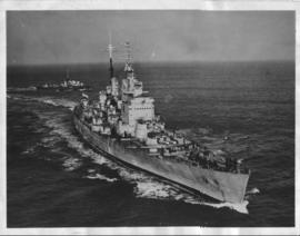 'HMS Vanguard' sailing in open water.