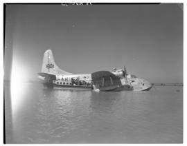Vaal Dam, circa 1948. Arrival of BOAC Solent flying boat G-AHIN 'Southampton'. Aircraft on water.