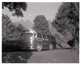 """Drakensberg, 1974. SAR MAN-Bussing MT60050 motor coach in the Cathedral Peak area."""
