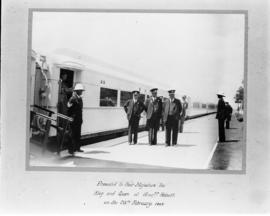 Graaff-Reinet, 25 February 1947. Railway staff on platform in front of Royal Train coach R9 durin...