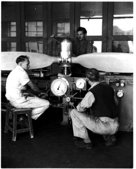 Johannesburg, circa 1949. Rand Airport. Working on propeller in workshop. (JK Hora)