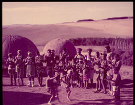 Melmoth district. Zulu children dancing in traditional village at Nkandla.