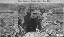 Langsnek Tunnel, July 1900. Damaged northern portal after being blown up.