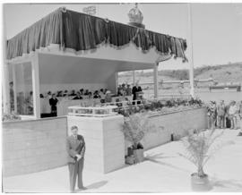 East London, 3 March 1947. Minister of Transport F C Sturrock speaking at the opening ceremony of...