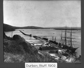 Durban, 1902. Reclamation of land on the Bluff side of Durban Harbour. Reclamation underway. (Col...