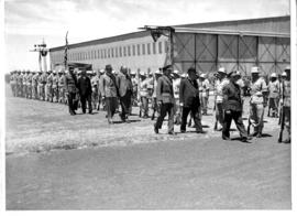 Kroonstad, 22 October 1945. Official opening of SAR Training College. Inspection of learner railw...
