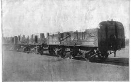 Ganna, circa 1902. Damage to rolling stock after a train was captured by Boer forces at Ganna sid...
