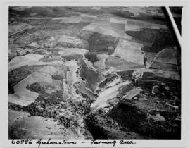 Grahamstown district, 1953. Aerial view of farmlands.
