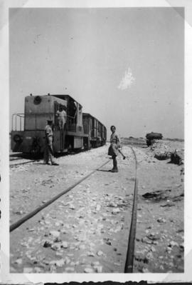 Nahariya, Palestine, circa 1944. A Whitcomb diesel-electric hauling several wagons at the Az-zib ...