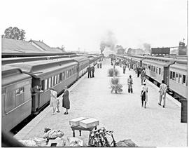 Mafeking, 1946. Two passenger trains in station.
