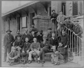 Grahamstown, 1897. Stationmaster William McClorg and staff at railway station.
