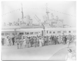 Cape Town, 21 February 1947. Royal Train departs from temporary station at Table Bay Harbour with...