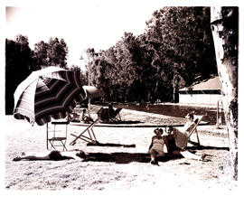 """Aliwal North, 1952. Bathers at swimming pool."""