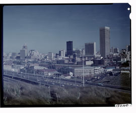 Johannesburg, 1973. City view with M2 motorway in the foreground.