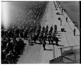 East London, 3 March 1947. Military band parade at the Princess Elizabeth graving dock.