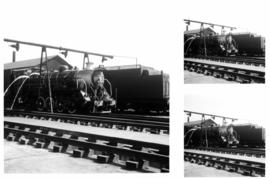 Germiston, July 1971. Class S2 locomotive being cooled down prior to being washed out.