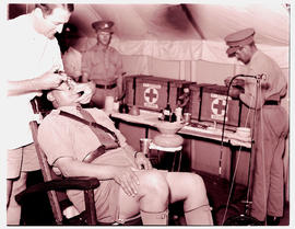 """Ladysmith, 1940. Dental examination at military camp."""