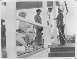Lobatsi, Bechuanaland, 17 April 1947. King George VI making presentation to Chief Tshekedi, Regen...