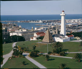 Port Elizabeth, 1984. Lighthouse at Donkin Reserve with Port Elizabeth Harbour in the distance.