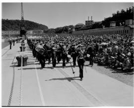 East London, 3 March 1947. Permanent Force Band leads in the procession for the naming ceremony P...