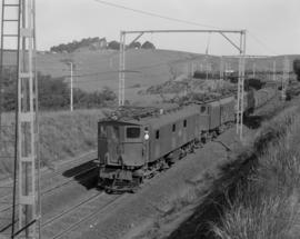 Pietermaritzburg district, 1964. Goods train with three SAR Class 1E's with No 39 in the lead.