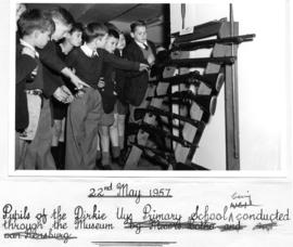Johannesburg, 22 May 1957. Pupils of the Dirkie Uys Primary School being conducted through Railwa...