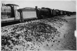 Nahariya, Israel, circa 1944. A 'Rod' 2-8-0 locomotives followed by a row of 'American' 2-8-2 and...