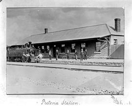 Pretoria. Locomotive 2-6-4T No 6 used on the Pretoria-Pietersburg line with staff at station.