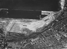 Cape Town, 1952. Aerial view of foreshore showing new harbour development.