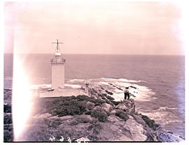 Mossel Bay, 1949. Cape St Blaize lighthouse and parallel rock ridges in the distance, called &quo...