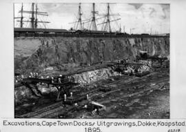 Cape Town, 1895. Excavation for docks in Table Bay Harbour.