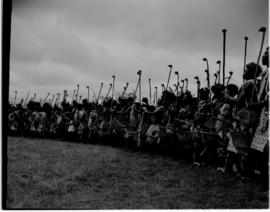 Swaziland, 24 March 1947. Traditional warrior salute for the king.