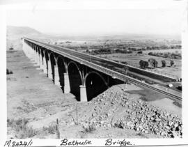 Bethulie, June 1970. Completed road / rail bridge over the Orange River viewed from the south.