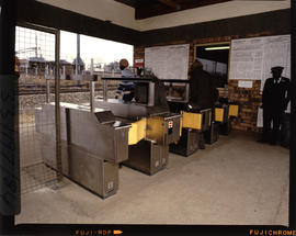Johannesburg, 1984. Automatic ticket barrier at Elsburg station. [CF Gunter]