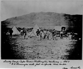 Cape Town - Wellington railway, 1857. Survey camp with EG Brounger with foot on spade near centre.