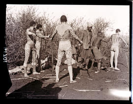 Transkei, 1932. Prepaing boys for the Abakweta dance.