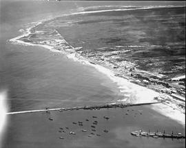 Port Elizabeth, 1936. Aerial view of Humewood beach and Port Elizabeth harbour.
