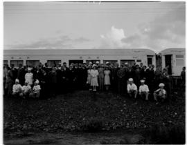 Breede River 19 April 1947. Royal family with Royal Train staff at last staging point.
