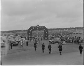 Swaziland, 25 March 1947. Welcoming arch at Goedgegun.