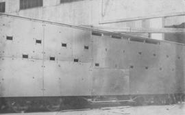 Bloemfontein, 1914. Armoured coach with bullet holes.