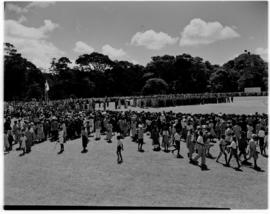 Eshowe, 19 March 1947. Crowd awaiting in a field for Royal family to arrive.