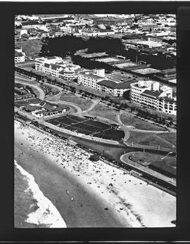 Aerial view of bathing beach. Durban?
