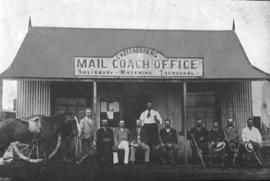Zeederberg mail coach office on the Salisbury - Mafeking - Transvaal route. From the article 'Pio...