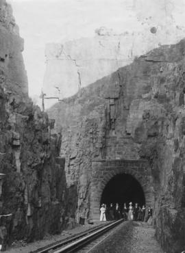 Waterval-Boven tunnel. Western portal with well dressed party.