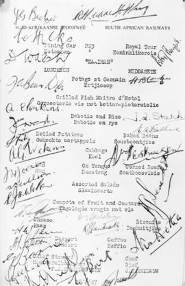 28 February 1947. A 'Kaaiman' luncheon menu with many signatures.