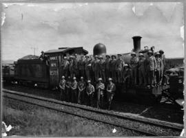 Johannesburg, 9 to 18 March 1922. Soldiers at steam locomotive 'Ulster'.
